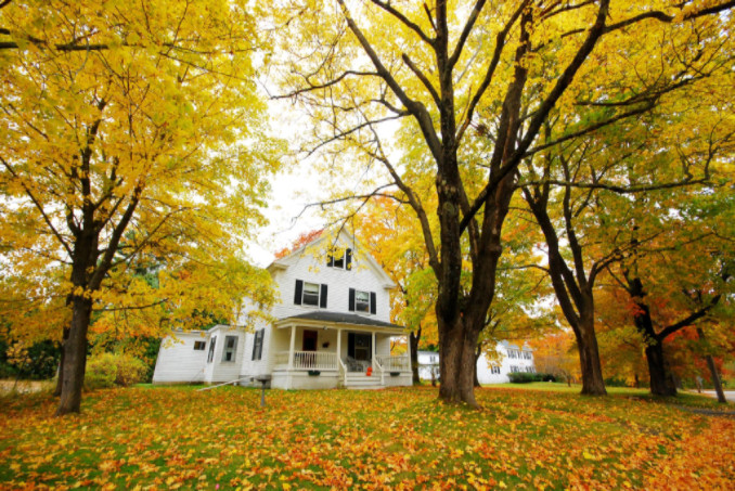 House with fall leaves: Richmond's Air Preventative Maintenance Blog